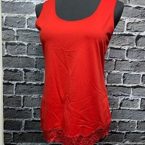 Chico's Sz 1 Red Lace Trim Microfiber Tank